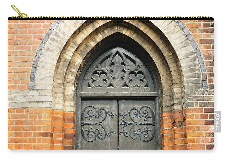 Buildings Carry-all Pouch featuring the photograph Old Church Door by Loreta Mickiene