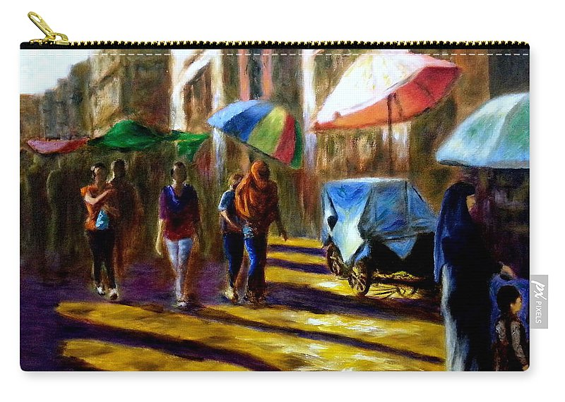 Old City Carry-all Pouch featuring the painting Old City Ahmedabad Series 2 by Uma Krishnamoorthy