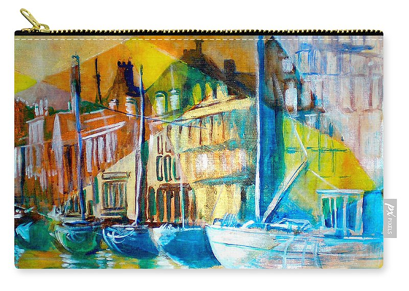 Old World Street Carry-all Pouch featuring the painting Old Copenhagen Thru Stained Glass by Seth Weaver