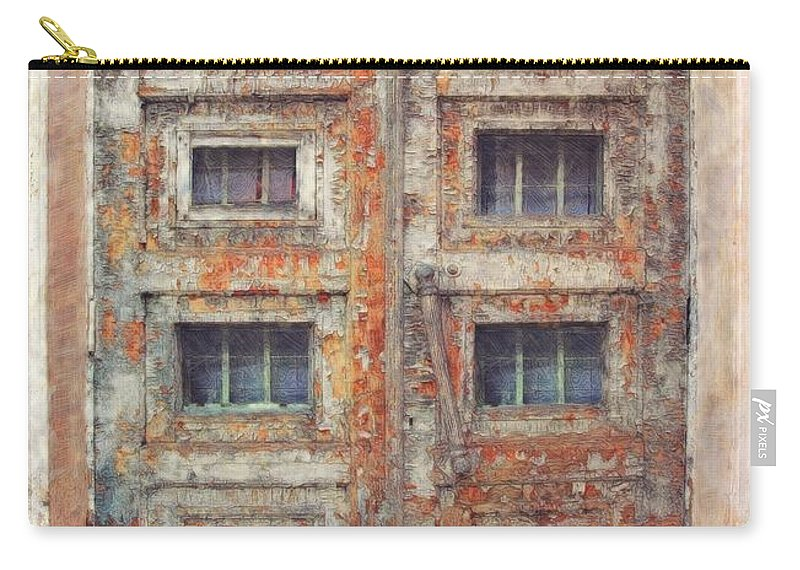Old Door Aged Cracked Abandoned Carry-all Pouch featuring the digital art Old Door - Aged - Cracked - Abandoned by Liane Wright