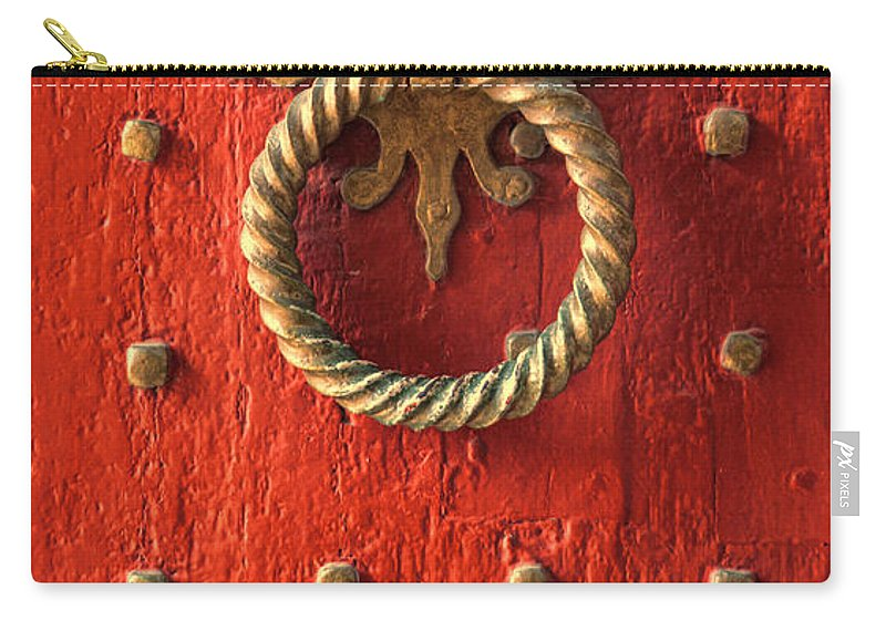 Door Carry-all Pouch featuring the photograph Old Door Knocker by Jill Battaglia