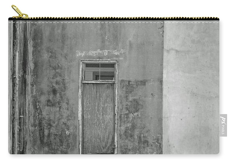 Black And White Carry-all Pouch featuring the photograph Old Doorway Bw by Lucy Bounds