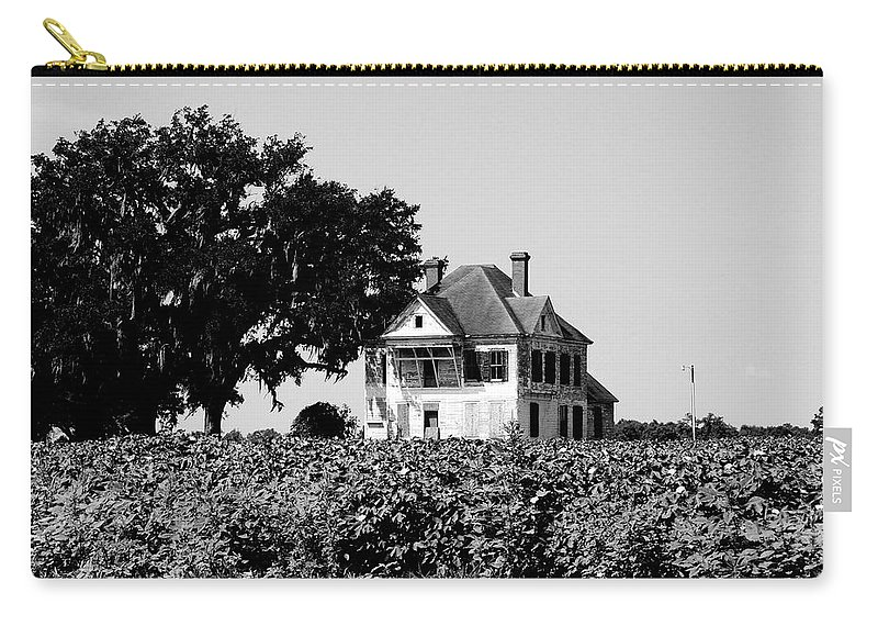 Brooks County Carry-all Pouch featuring the photograph Old Farmhouse Surrounded By Cotton by Marilyn Holkham