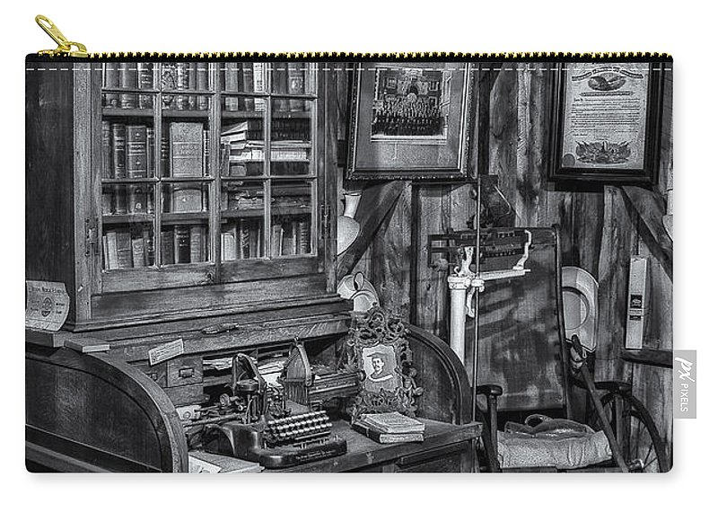 Dr. Carry-all Pouch featuring the photograph Old Fashioned Doctor's Office Bw by Susan Candelario