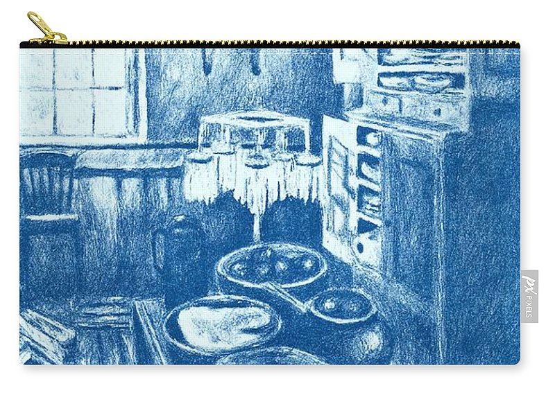 Lithograph Carry-all Pouch featuring the drawing Old Fashioned Kitchen In Blue by Kendall Kessler