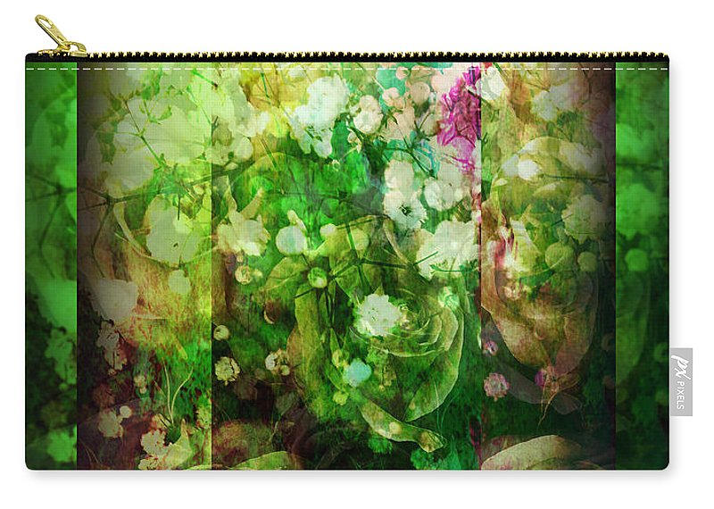 Old Fashioned Carry-all Pouch featuring the photograph Old Fashioned Merry Christmas - Roses And Babys Breath - Holiday And Christmas Card by Miriam Danar