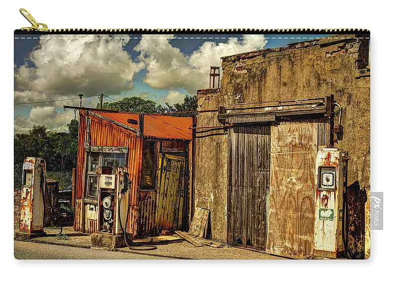 Gas Carry-all Pouch featuring the photograph Old Gas Station by Mal Bray