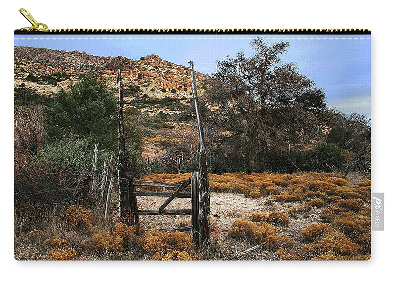 Old Gate At Oak Flats Carry-all Pouch featuring the photograph Old Gate At Oak Flats by Tom Janca