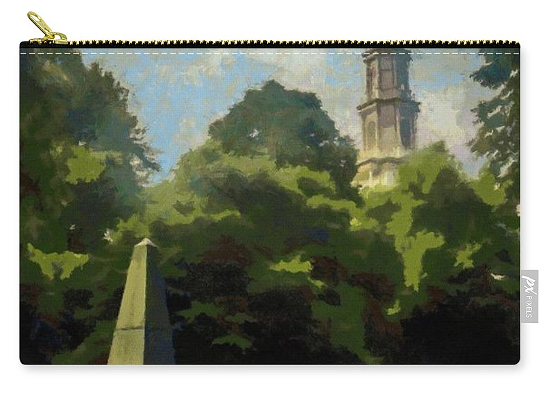 Cemetery Carry-all Pouch featuring the painting Old Granery Burying Ground by Jeffrey Kolker