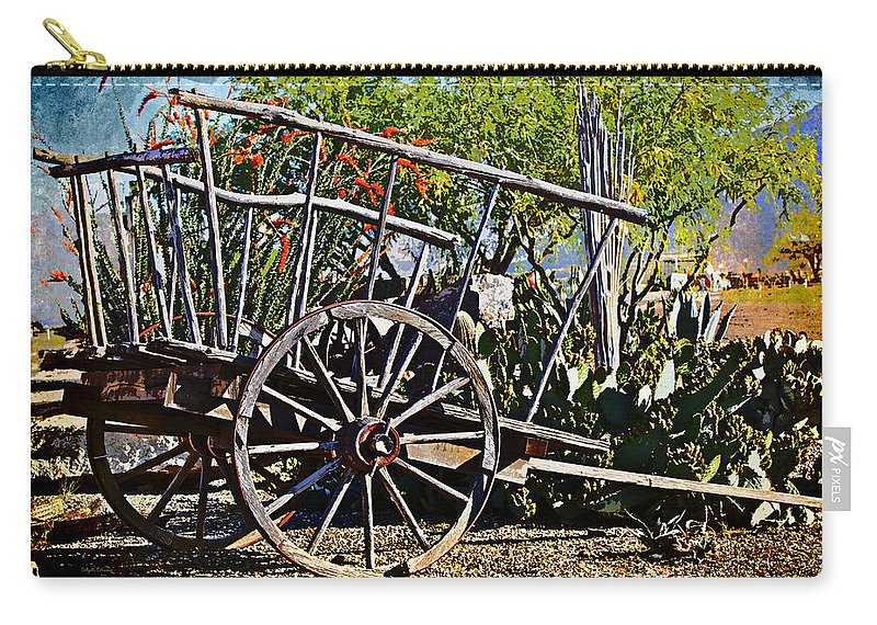 Wagon Carry-all Pouch featuring the photograph Old Hay Wagon by Phyllis Denton