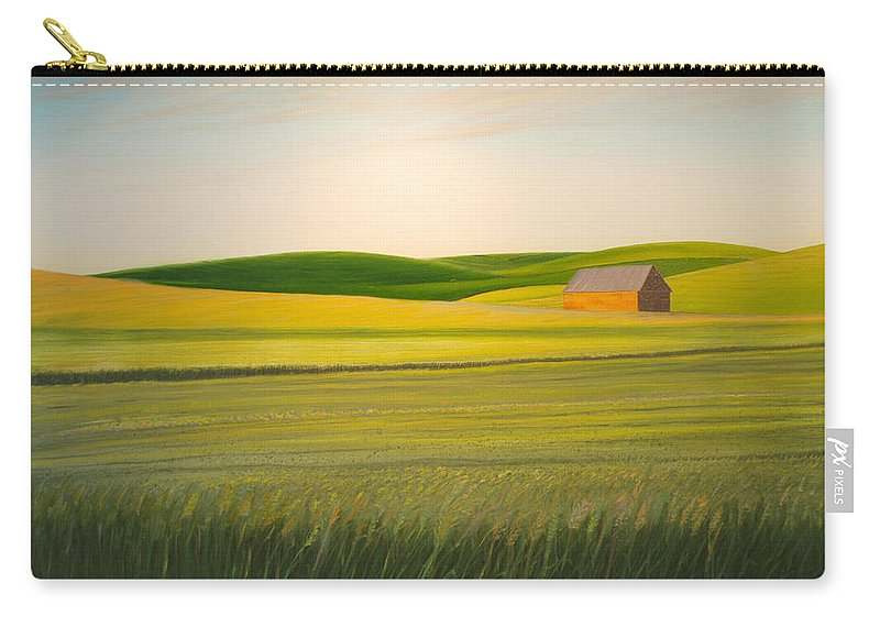 Wheat Carry-all Pouch featuring the painting Old Highway 95 by Leonard Heid