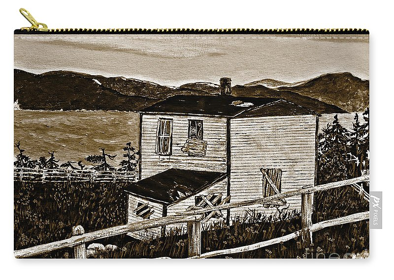 Sepia Old House Carry-all Pouch featuring the painting Old House In Sepia by Barbara Griffin