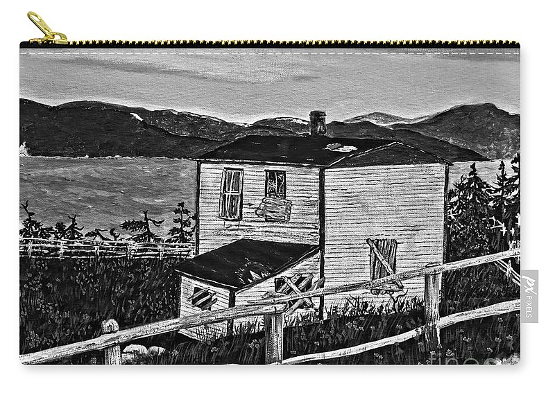 Memories Carry-all Pouch featuring the painting Old House - Memories - Shutters And Boards by Barbara Griffin