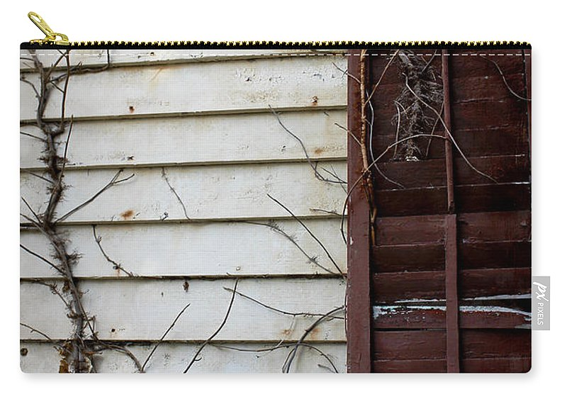 Dilapidated Carry-all Pouch featuring the photograph Old House Red Shutter 4 by Robin Lewis