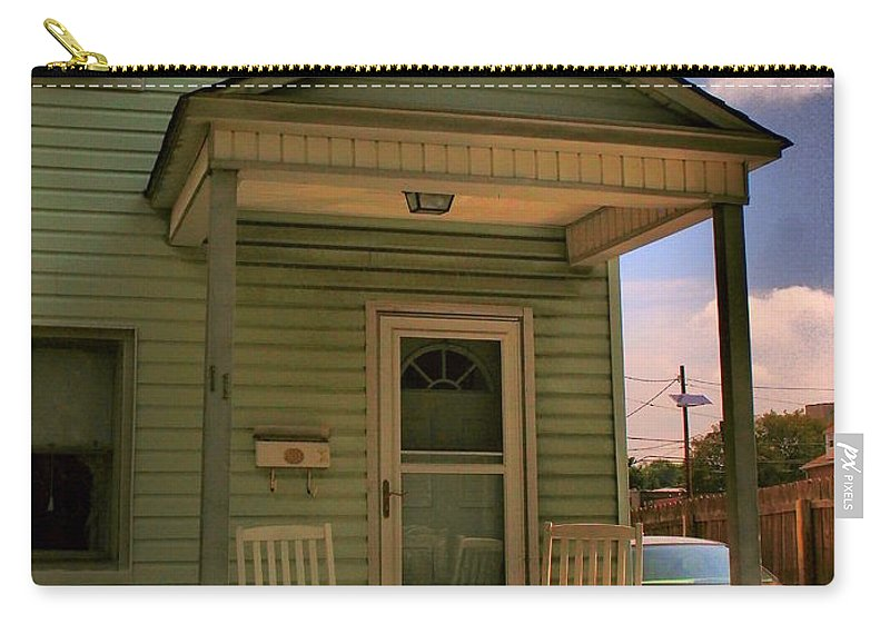 Old Houses Carry-all Pouch featuring the photograph Old Houses - New Jersey - In The Oranges - Green House With Flower Pots And Rocking Chairs - Color by Miriam Danar