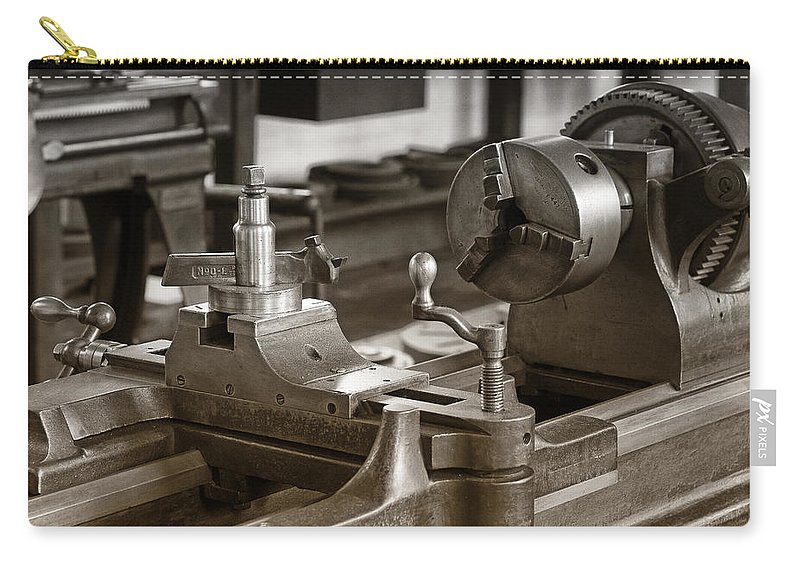 Lathe Carry-all Pouch featuring the photograph Old Lathe by Debby Richards