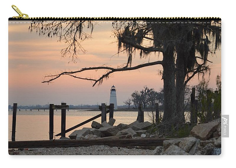 Landscape Carry-all Pouch featuring the photograph Old Lighthouse In Sunset by Xyldia Grace