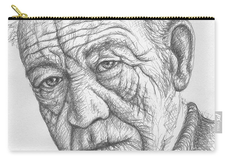 Portrait Carry-all Pouch featuring the drawing Old Man by Nicole Zeug