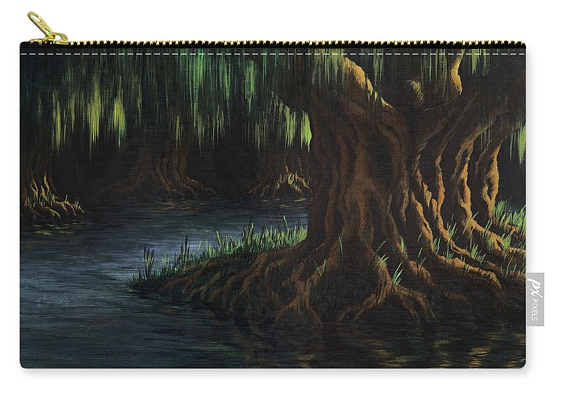 Abstract Carry-all Pouch featuring the painting Old Man Willow by Rachel Christine Nowicki