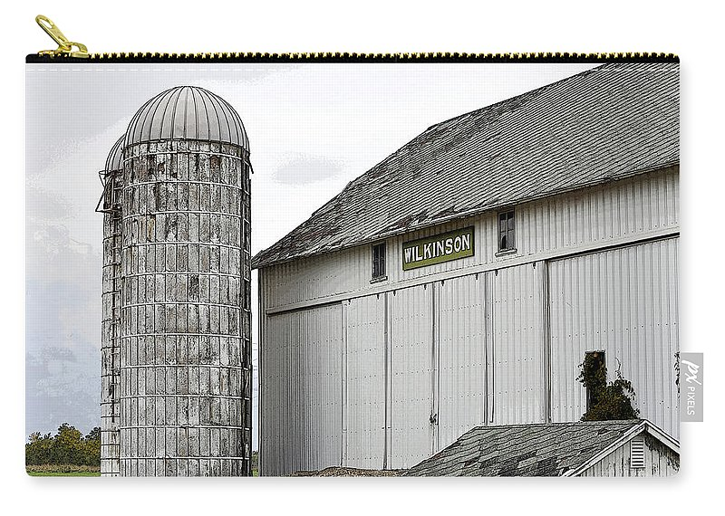 Michigan Carry-all Pouch featuring the photograph Old Michigan Barn With Silos Color Usa by Sally Rockefeller