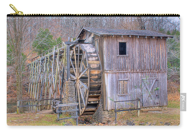 Old Carry-all Pouch featuring the photograph Old Mill Water Wheel And Sluce by Douglas Barnett