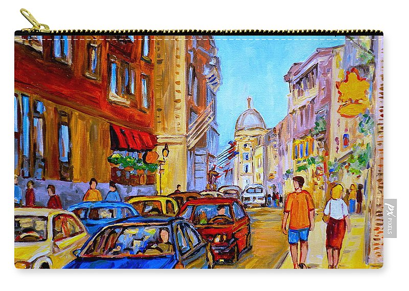 Old Montreal Street Scenes Carry-all Pouch featuring the painting Old Montreal by Carole Spandau