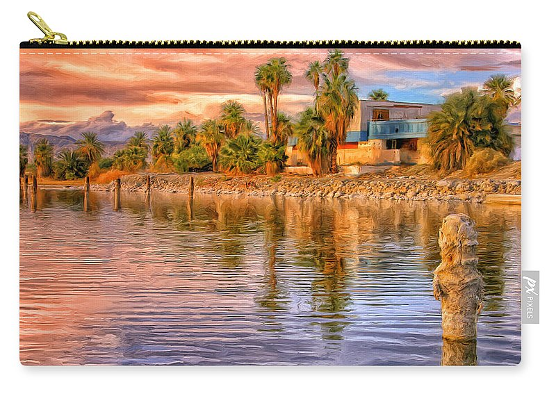 Salton Sea Carry-all Pouch featuring the painting Old North Shore Yacht Club At Salton Sea by Dominic Piperata