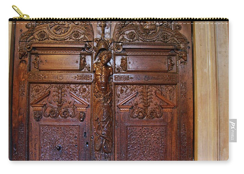 Door Carry-all Pouch featuring the photograph Old Ornamented Door by Christiane Schulze Art And Photography