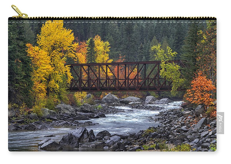 Tumwater Pipeline Trail Carry-all Pouch featuring the photograph Old Pipeline Bridge by Mark Kiver