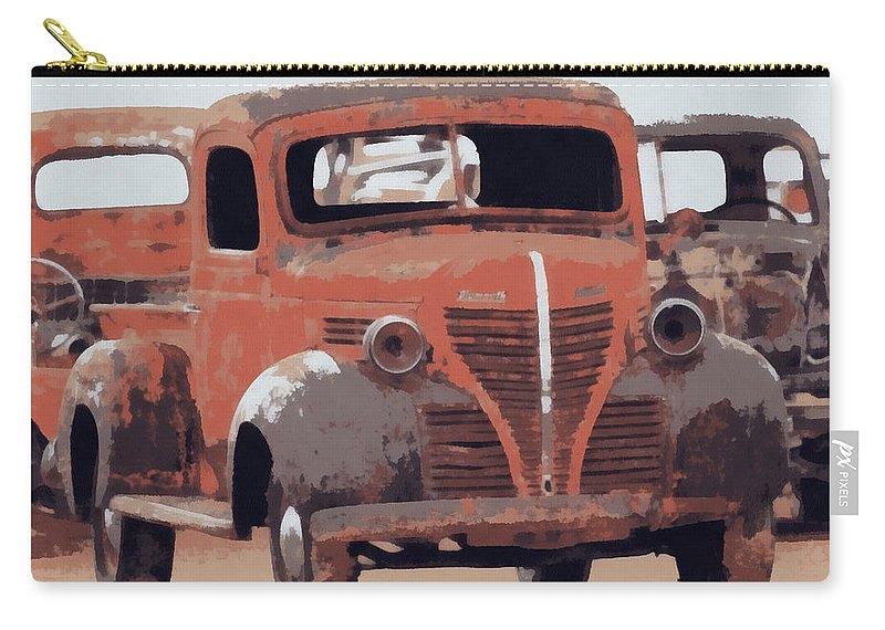 Old Plymouth Carry-all Pouch featuring the digital art Old Plymouth Trucks by Ernie Echols