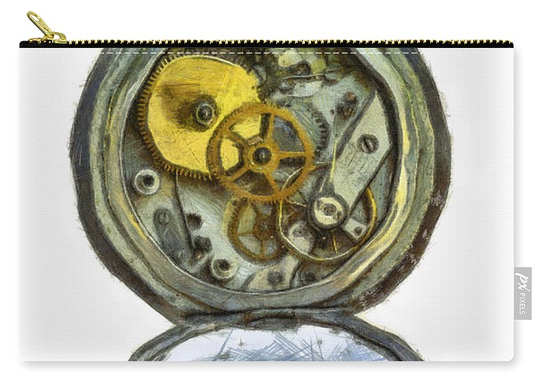 Antique Carry-all Pouch featuring the digital art Old Pocket Watch by Michal Boubin