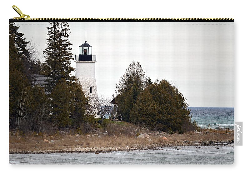 Presque Isle Carry-all Pouch featuring the photograph Old Presque Isle Lighthouse by Linda Kerkau