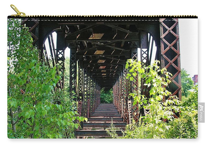 Bridge Carry-all Pouch featuring the photograph Old Railroad Car Bridge by Sherman Perry