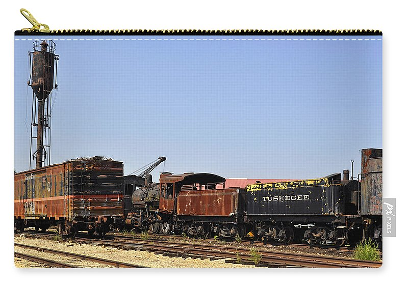 Railroad Carry-all Pouch featuring the photograph Old Railroad Cars From The Series View Of An Old Railroad by Verana Stark
