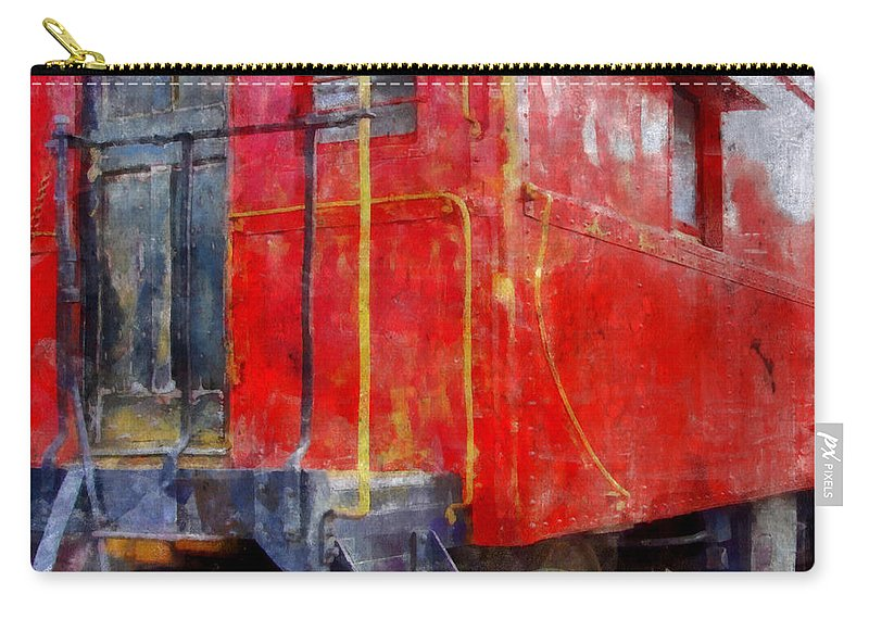 Caboose Carry-all Pouch featuring the photograph Old Red Caboose by Michelle Calkins