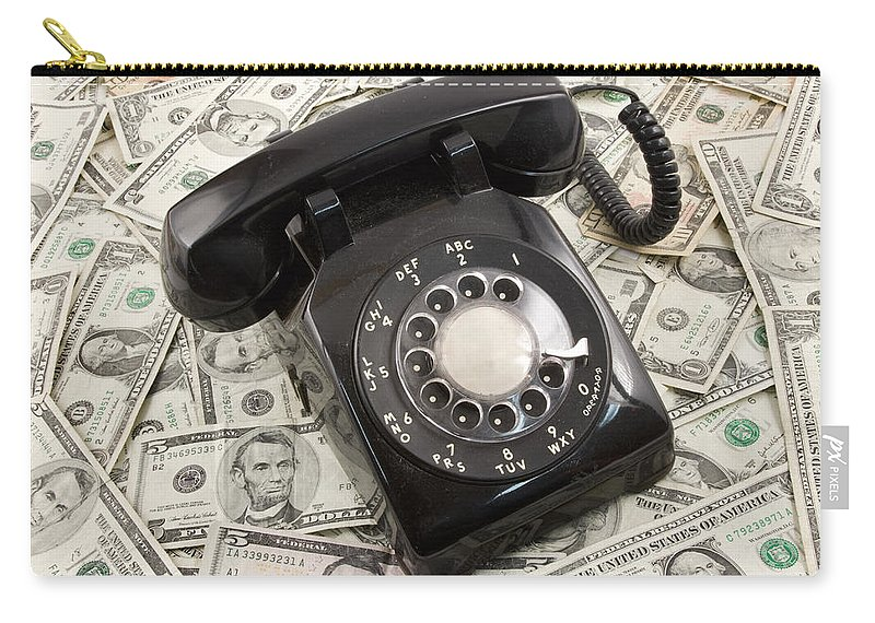 Currency Carry-all Pouch featuring the photograph Old Rotary Phone On Money Background by Keith Webber Jr