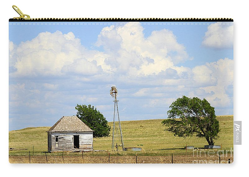Farm Carry-all Pouch featuring the photograph Old Rush County Farmhouse With Windmill by Catherine Sherman