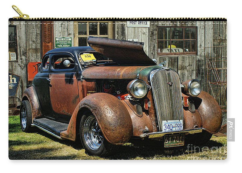 Cars Carry-all Pouch featuring the photograph Old Rusty Car At The Old Shop Ca5083a-14 by Randy Harris