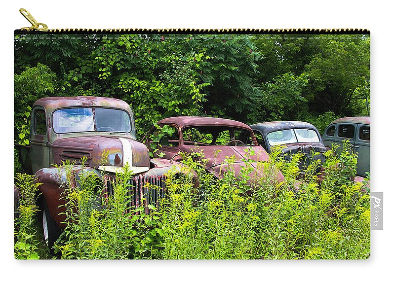 Cars Carry-all Pouch featuring the photograph Old Rusty Cars by Sherman Perry