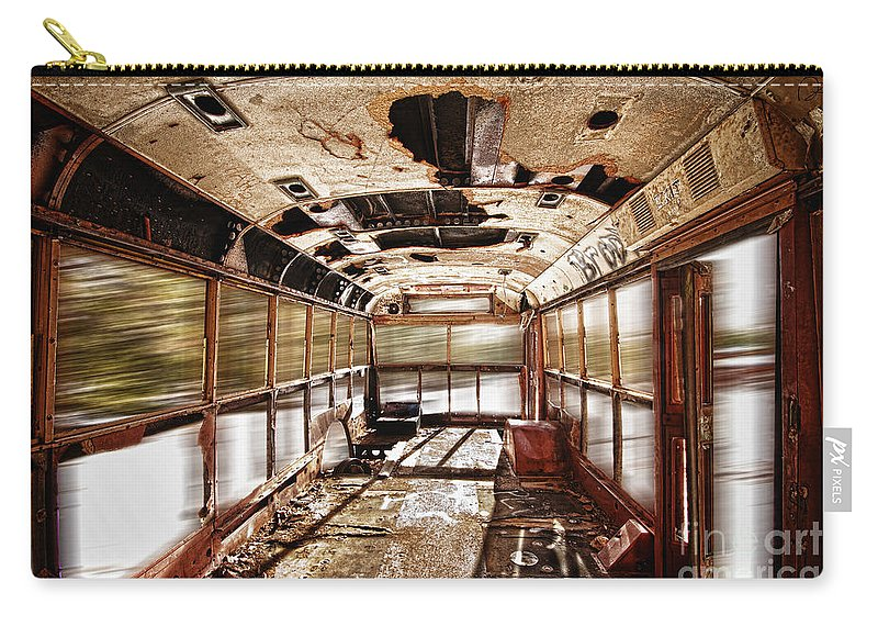 'school Bus' Carry-all Pouch featuring the photograph Old School Bus In Motion Hdr by James BO Insogna