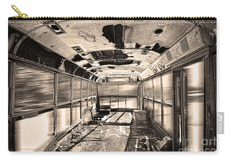 'school Bus' Carry-all Pouch featuring the photograph Old School Bus In Sepia Motion by James BO Insogna