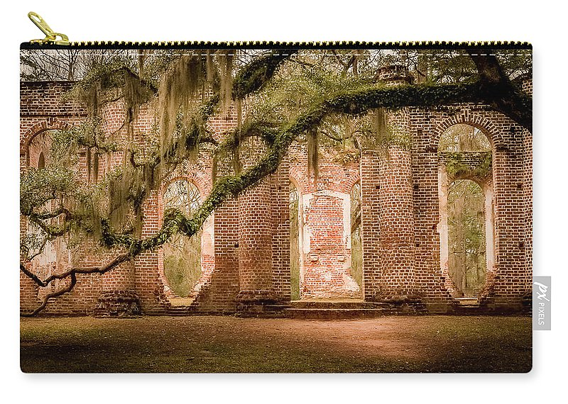 Church Carry-all Pouch featuring the photograph Old Sheldon Church by Curtis Cabana