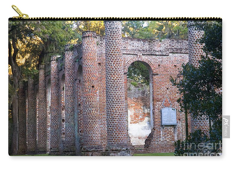 Old Sheldon Church Carry-all Pouch featuring the photograph Old Sheldon Church Front Left by Scott Hansen