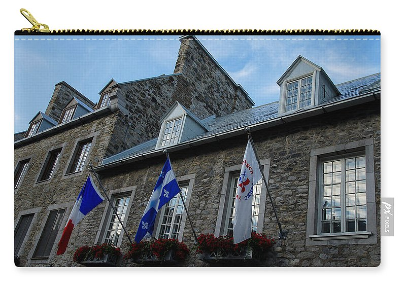 Stone Houses Carry-all Pouch featuring the photograph Old Stone Houses In Quebec City Canada by Georgia Mizuleva
