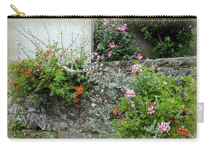 Stone Wall Carry-all Pouch featuring the photograph Old Stone Wall by Carla Parris