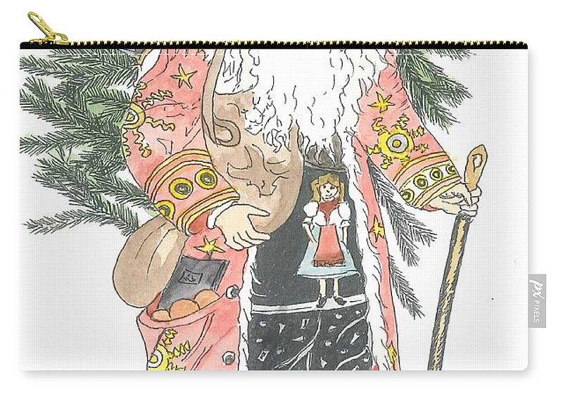 Santa Carry-all Pouch featuring the painting Old Time Santa With Teddy by Petra Stephens