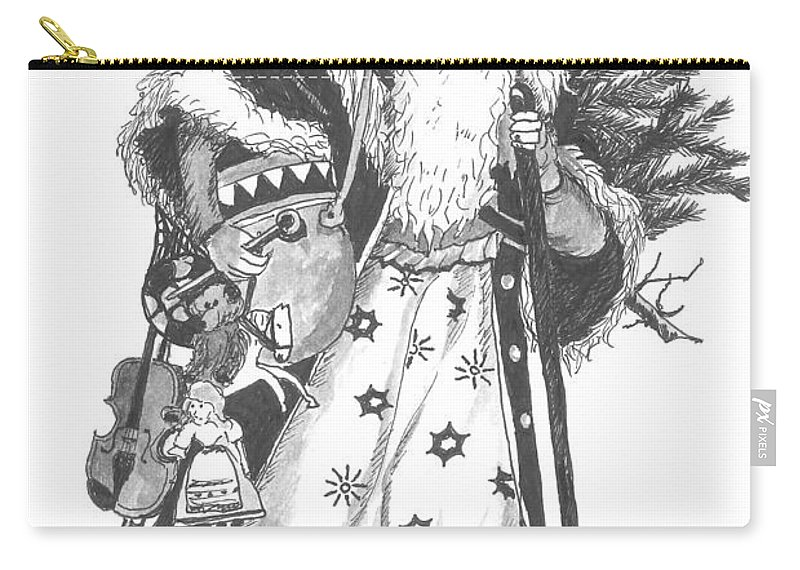 Santa Carry-all Pouch featuring the drawing Old Time Santa With Violin by Petra Stephens