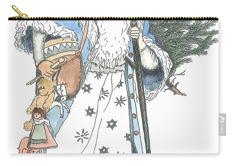 Santa Carry-all Pouch featuring the painting Old Time Santa With Violin2 by Petra Stephens