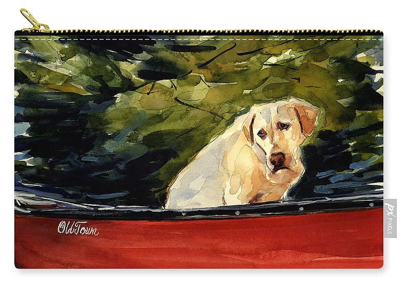 Yellow Labrador Retriever Carry-all Pouch featuring the painting Old Town by Molly Poole