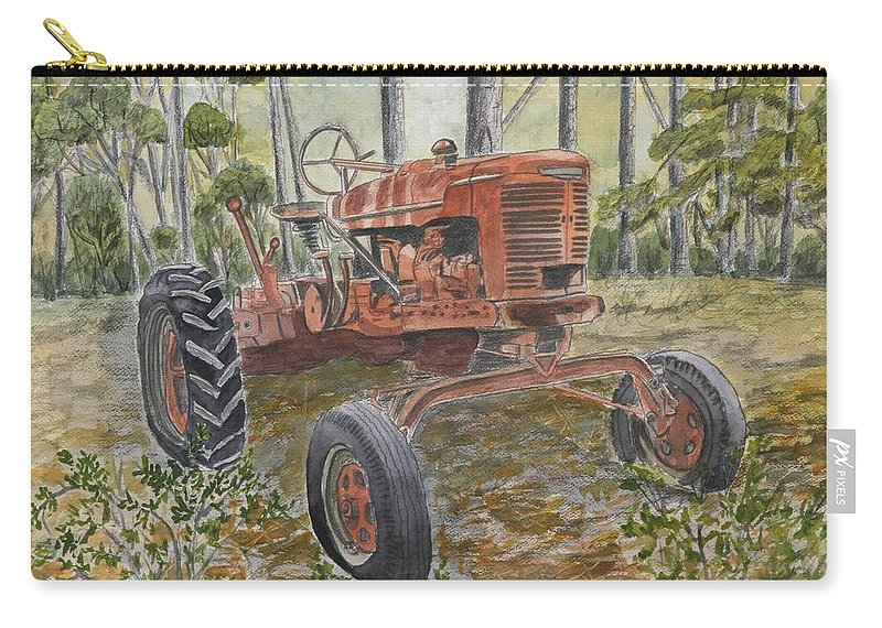 Old Carry-all Pouch featuring the painting Old Tractor Vintage Art by Derek Mccrea